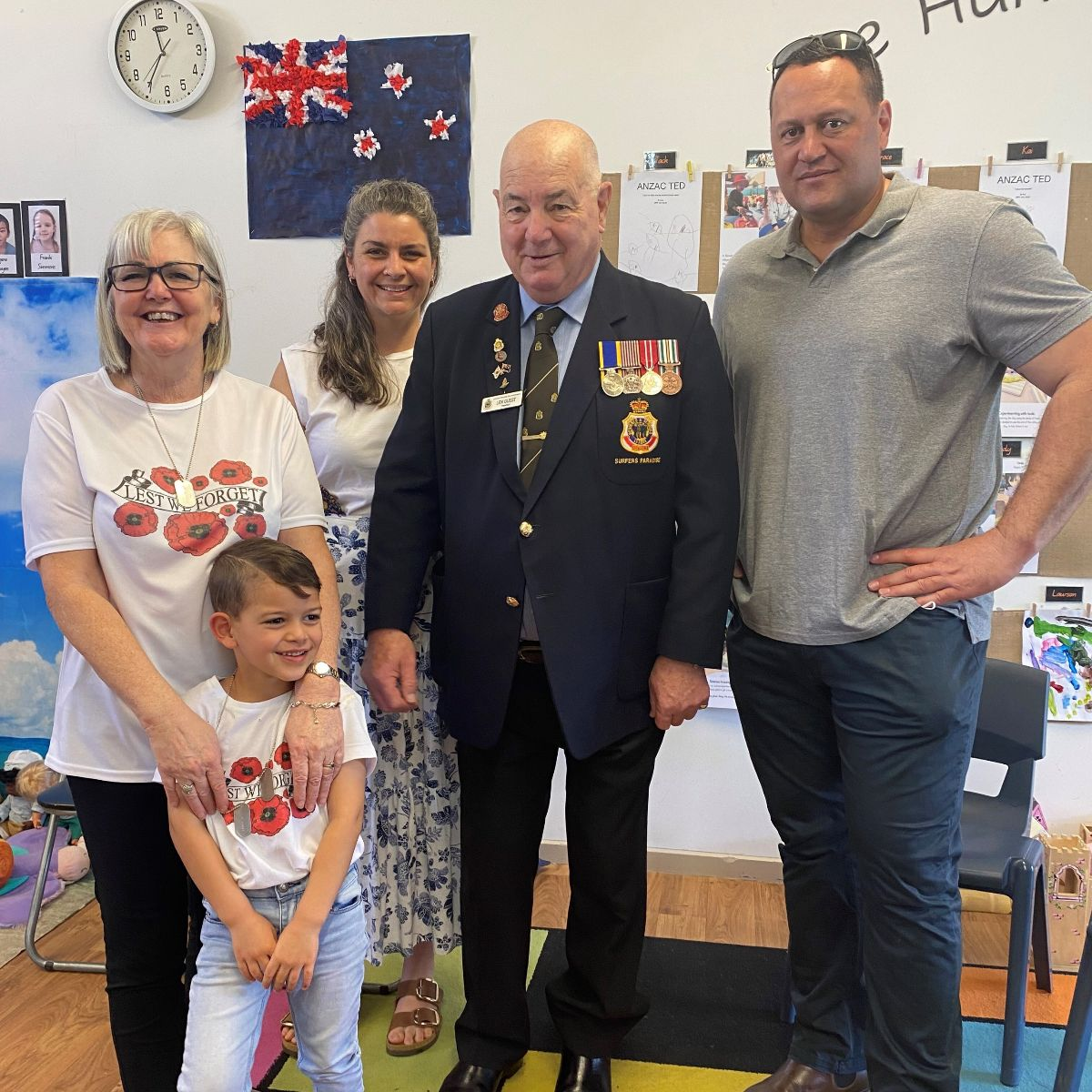 Mr Leonard Guest with Kalani, his mum & dad and Miss Sue